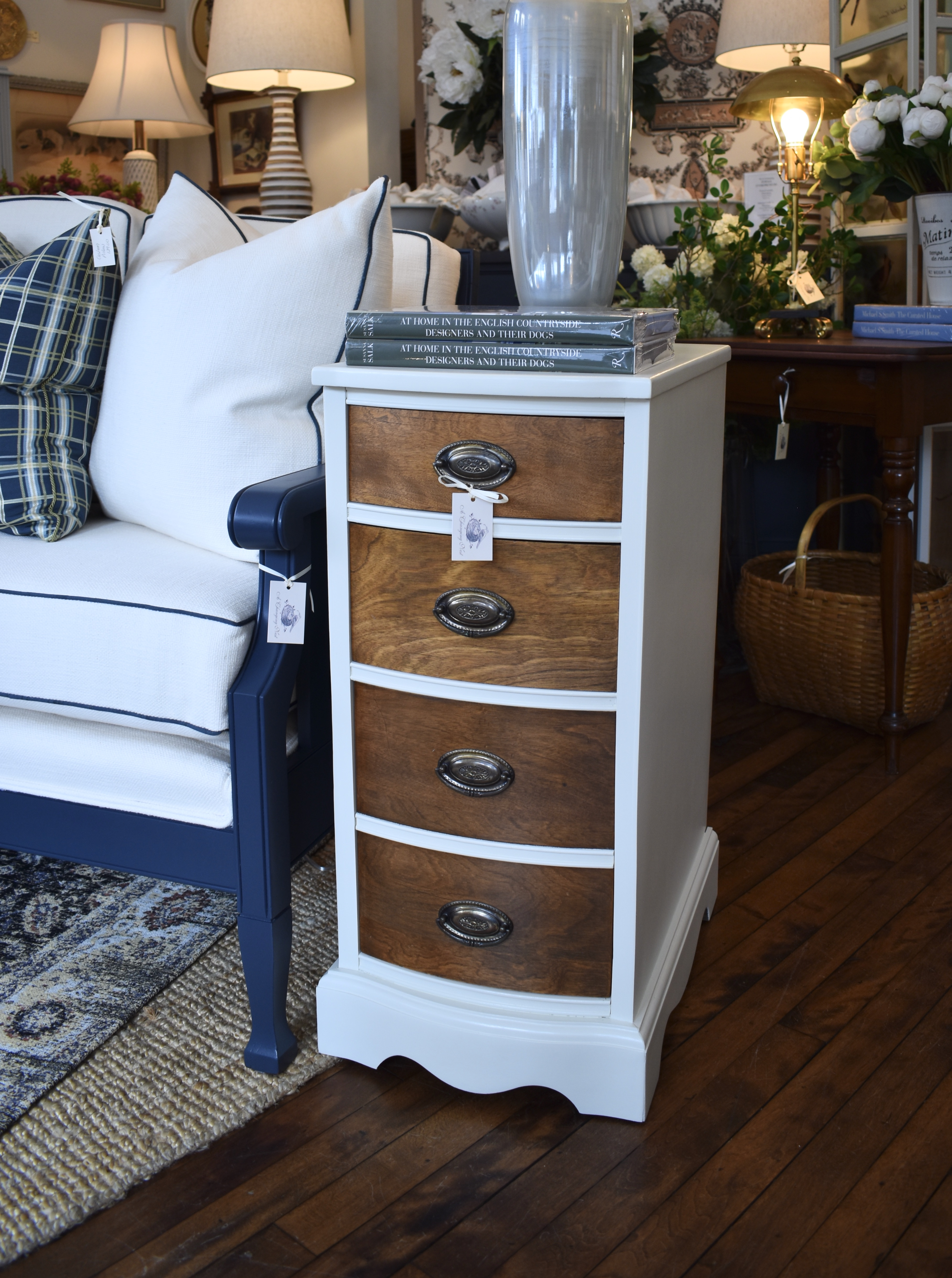 Pair Painted Vintage Bedside Tables