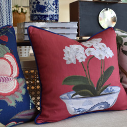 Designer Feather Accent Cushions - Red with Flower