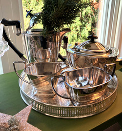 Vintage Plated Tea Set w/ Bakelite Handl