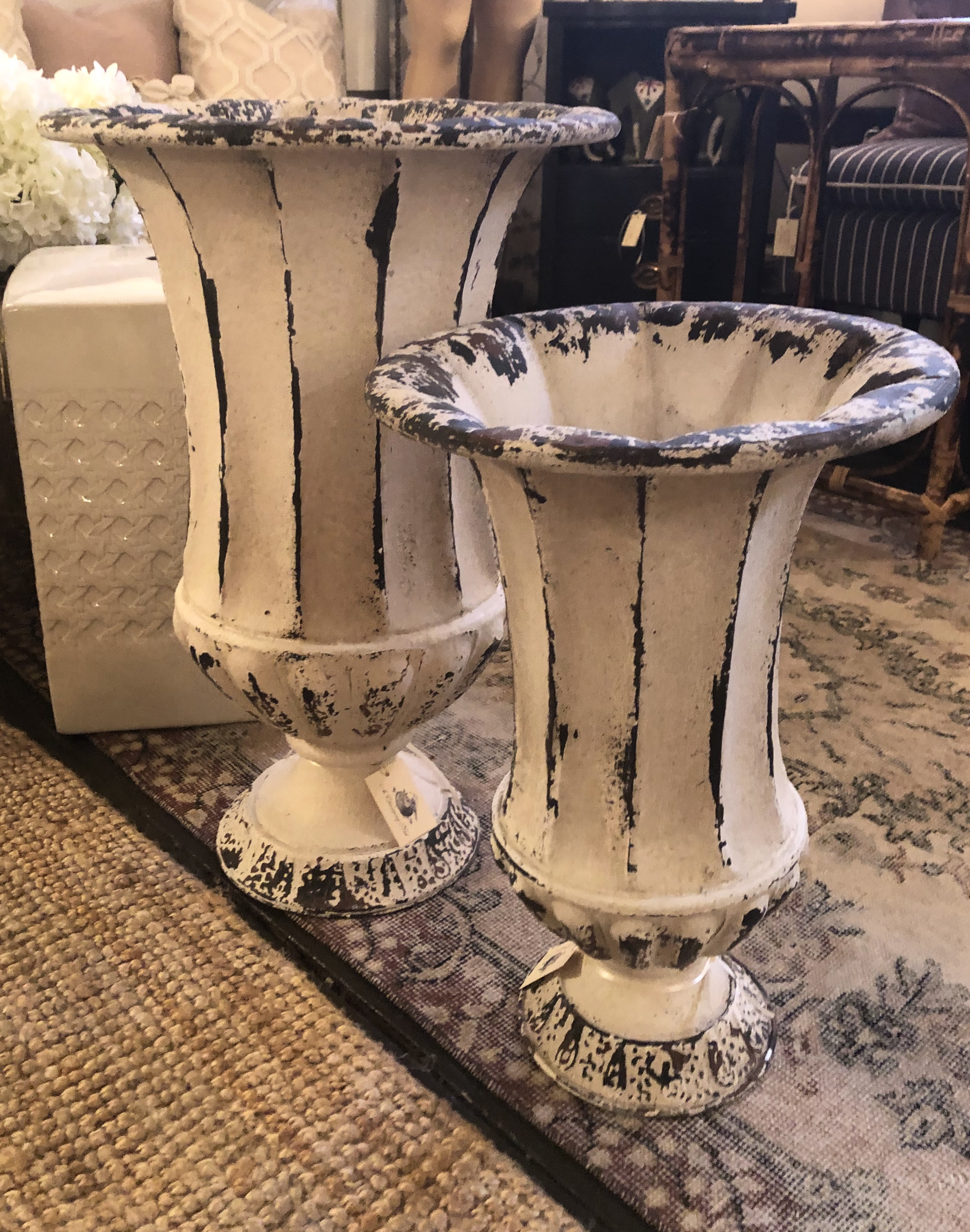 Tin Urn Panters in Ivory and Black