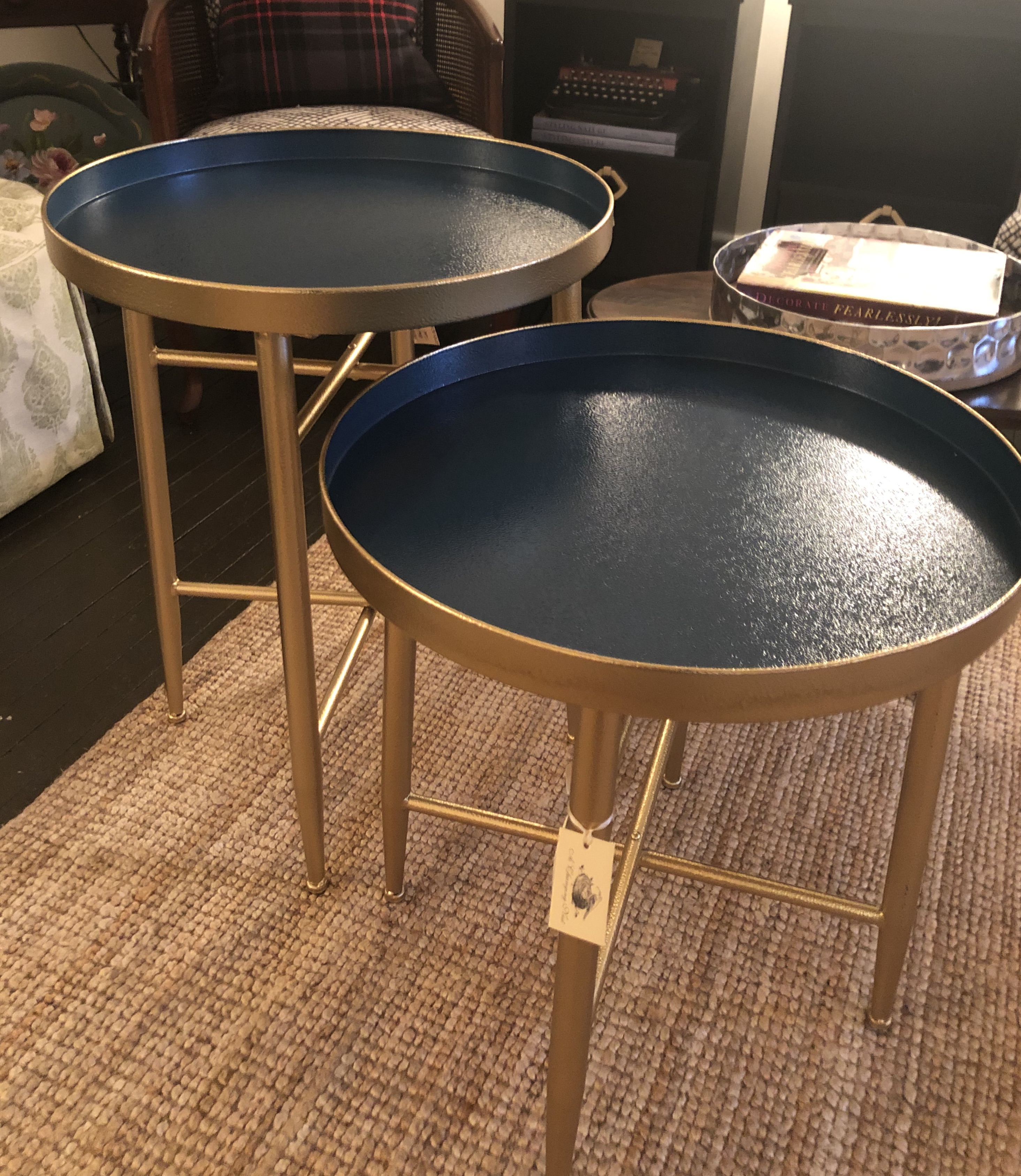 Hammered Blue and Gold Sidetable