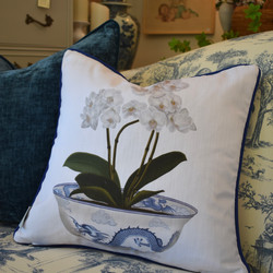 Designer Feather Accent Cushions - Orchid Bowl on White