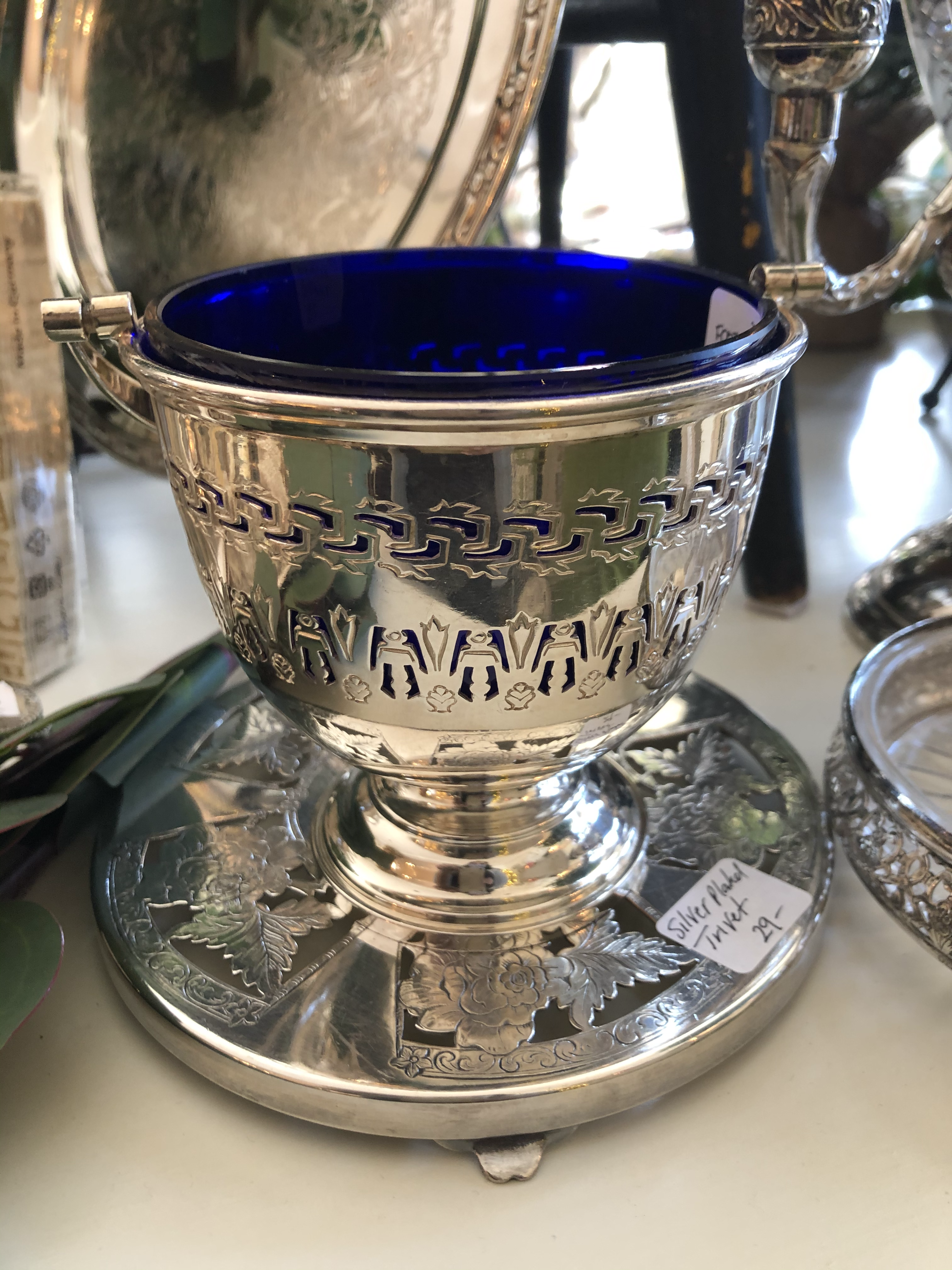 Small Silver Basket with Cobalt Liner