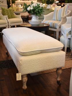 Boucle Upholstered Bench on Castors