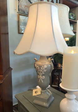 Vintage Grey and White Ceramic Lamp