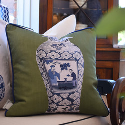 Designer Feather Accent Cushions - Tall Urn on Green