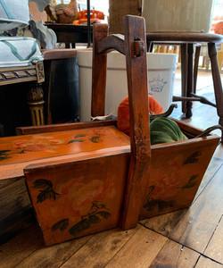Vintage Handpainted Wooden Box with Slide Lid