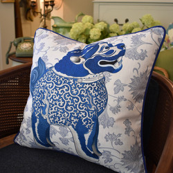 Designer Feather Accent Cushions - Happy Foo Dog