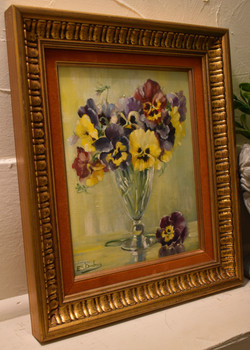 Original Oil Painting- Pansy Vase