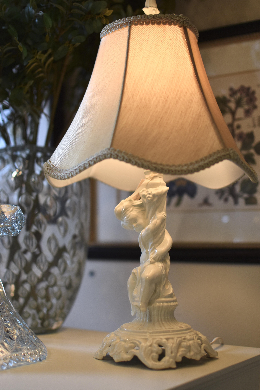 Pair of Vintage Enamel Cherub Lamps
