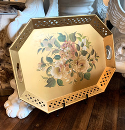 Hand Painted Vintage Tin Tray
