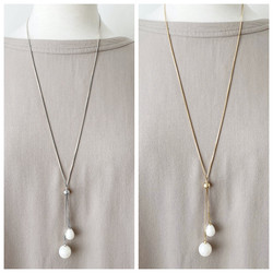 Silver & Gold Long Necklace with Pearls