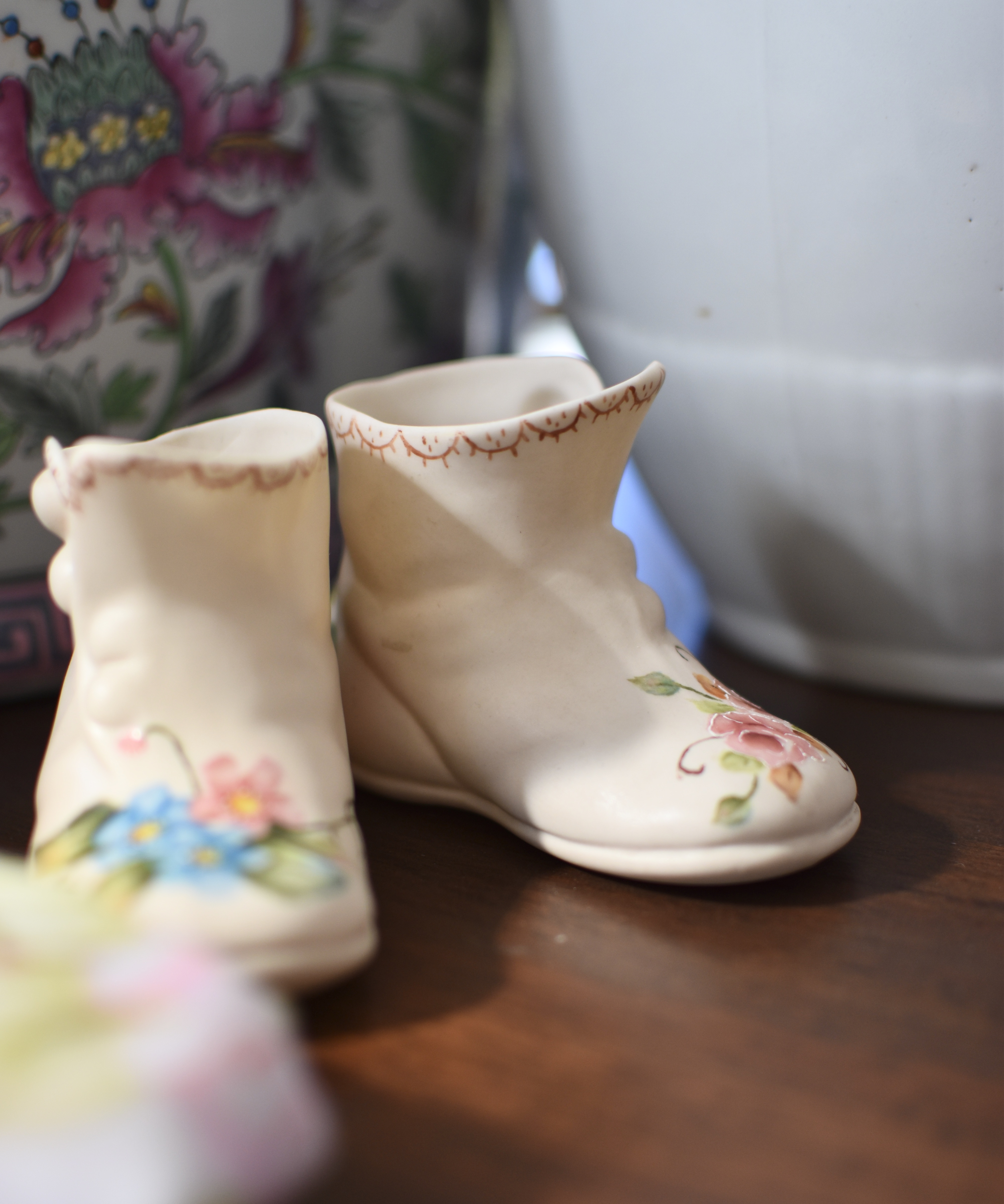 Vintage Signed Handpainted China Shoes