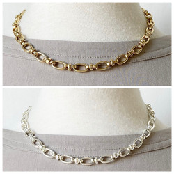 Gold and Silver Short Single Link Necklace
