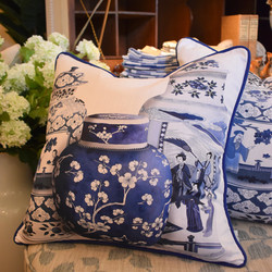 Designer Feather Accent Cushions - 3 Urns