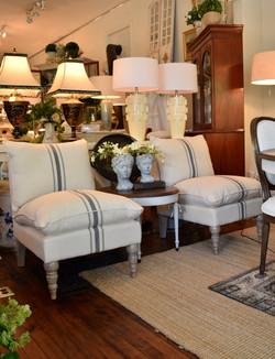 Upholstered Slipper Chair w/ French Stripe