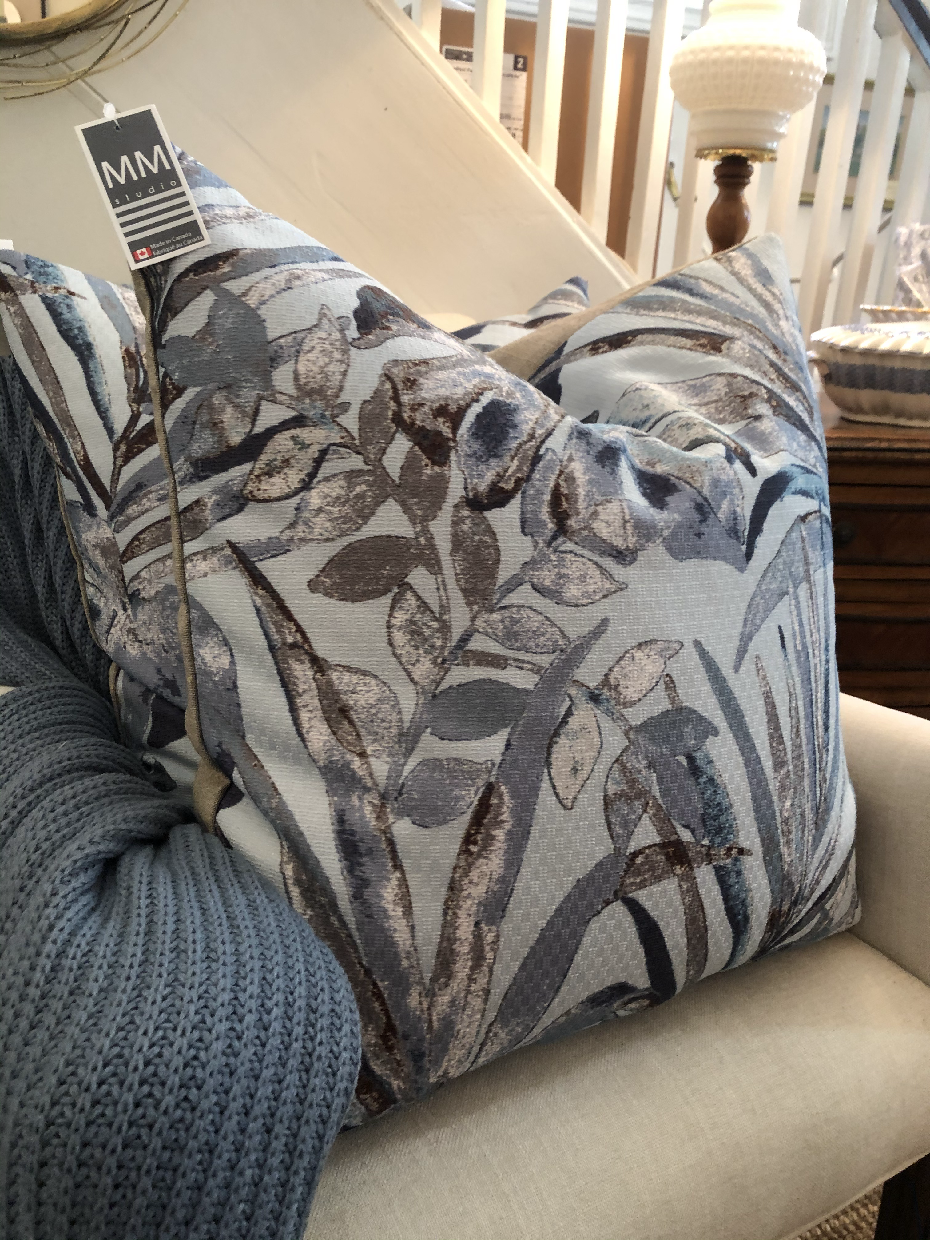 Floral Graphic Feather Cushion