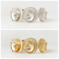Silver & Gold Metallic Swirl & Stone Stretch Bracelet
