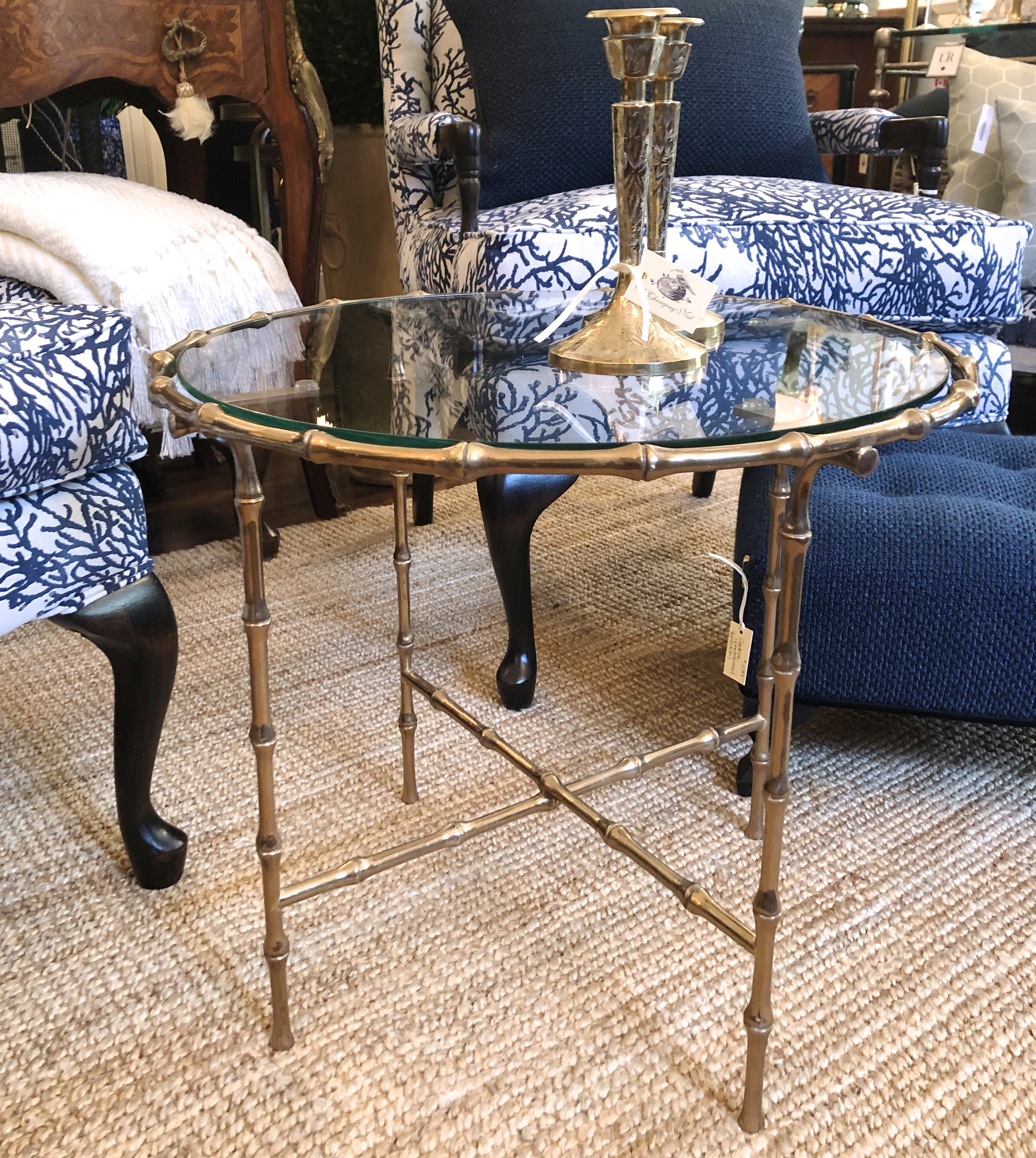 Vintage Brass End Table w/ Glass
