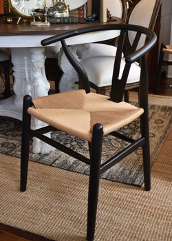 Black and Natural Woven Seat Dining Chai