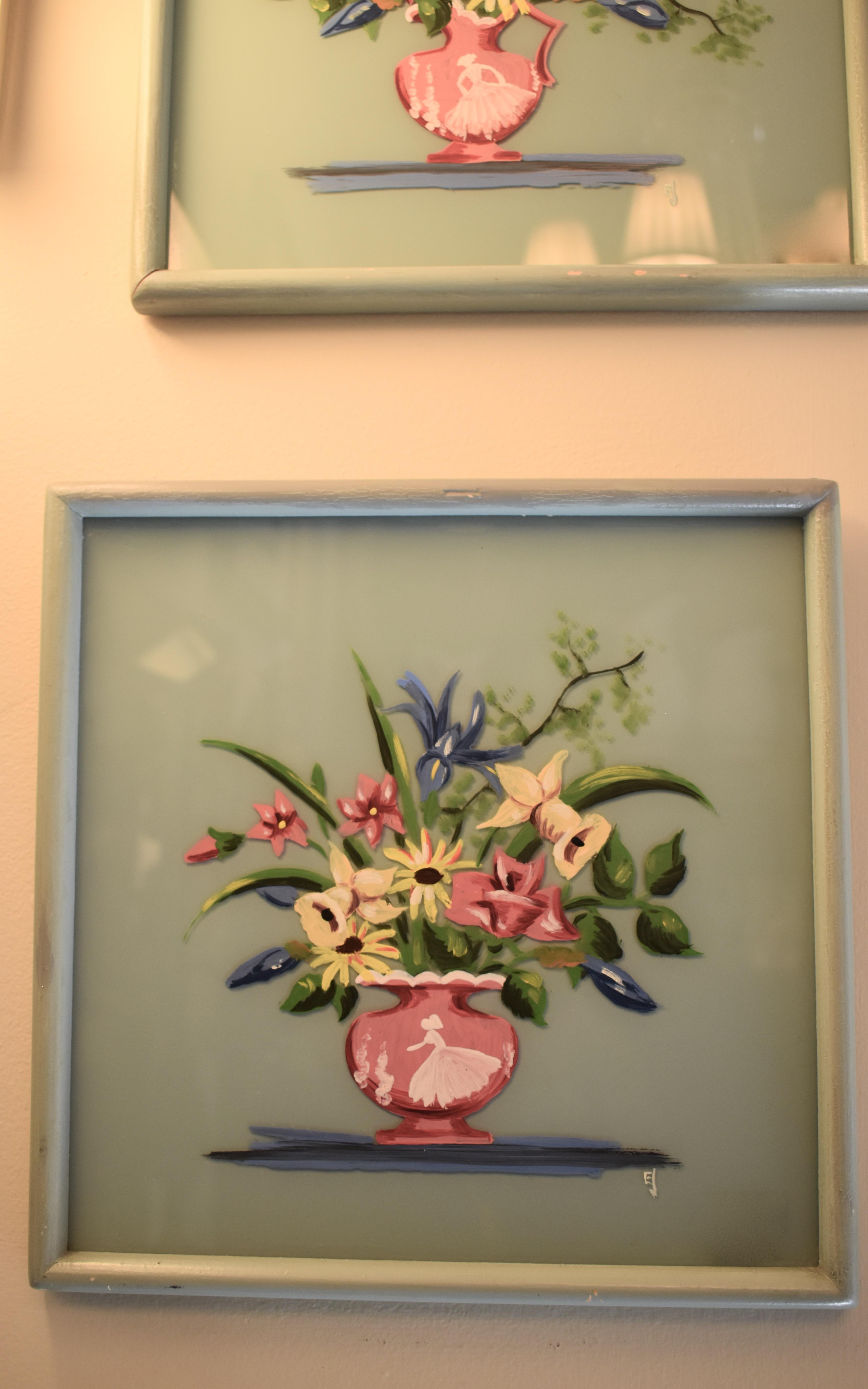 Hand Painted Vintage Framed Florals