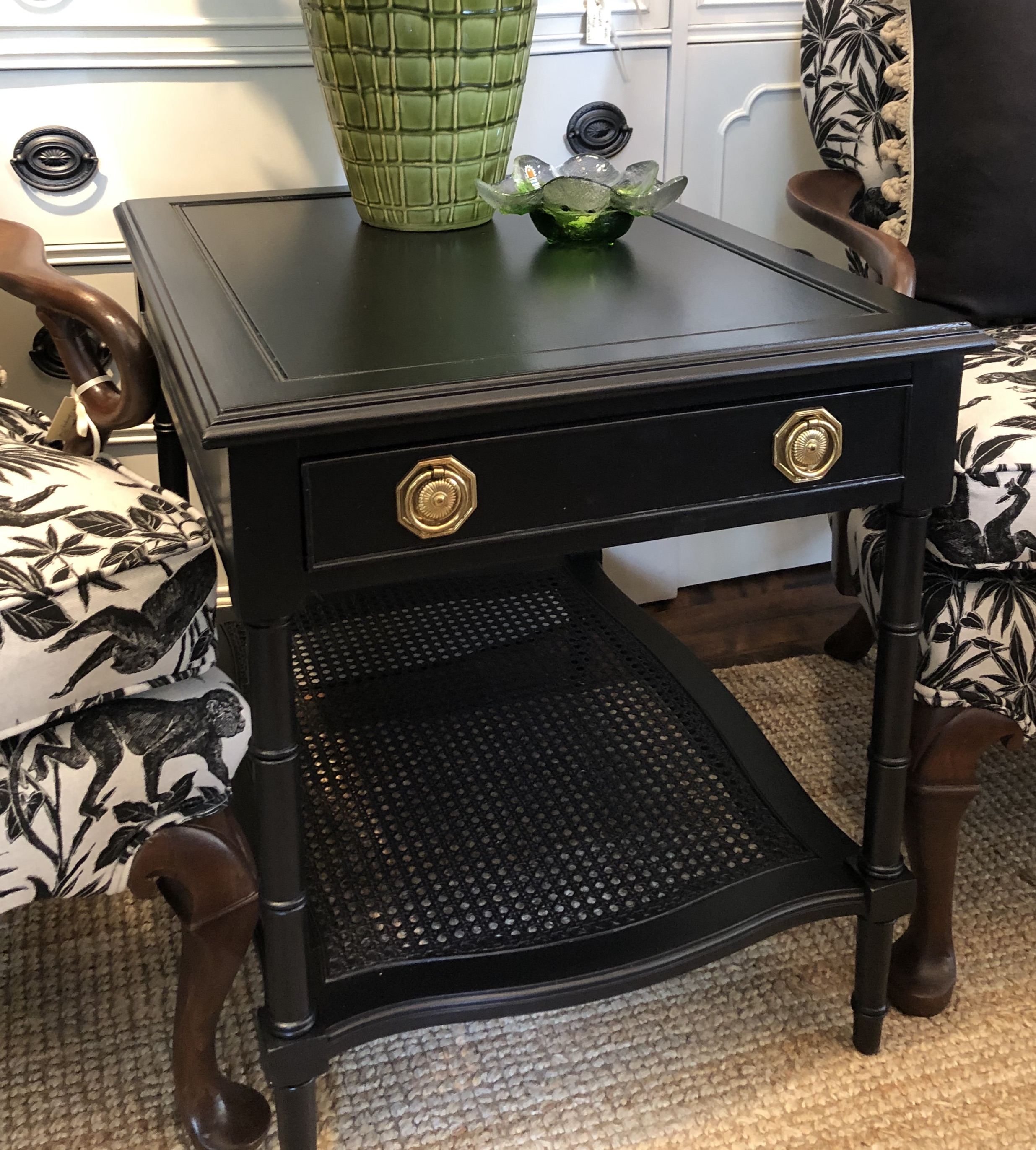 Painted End Table with Bamboo Bottom