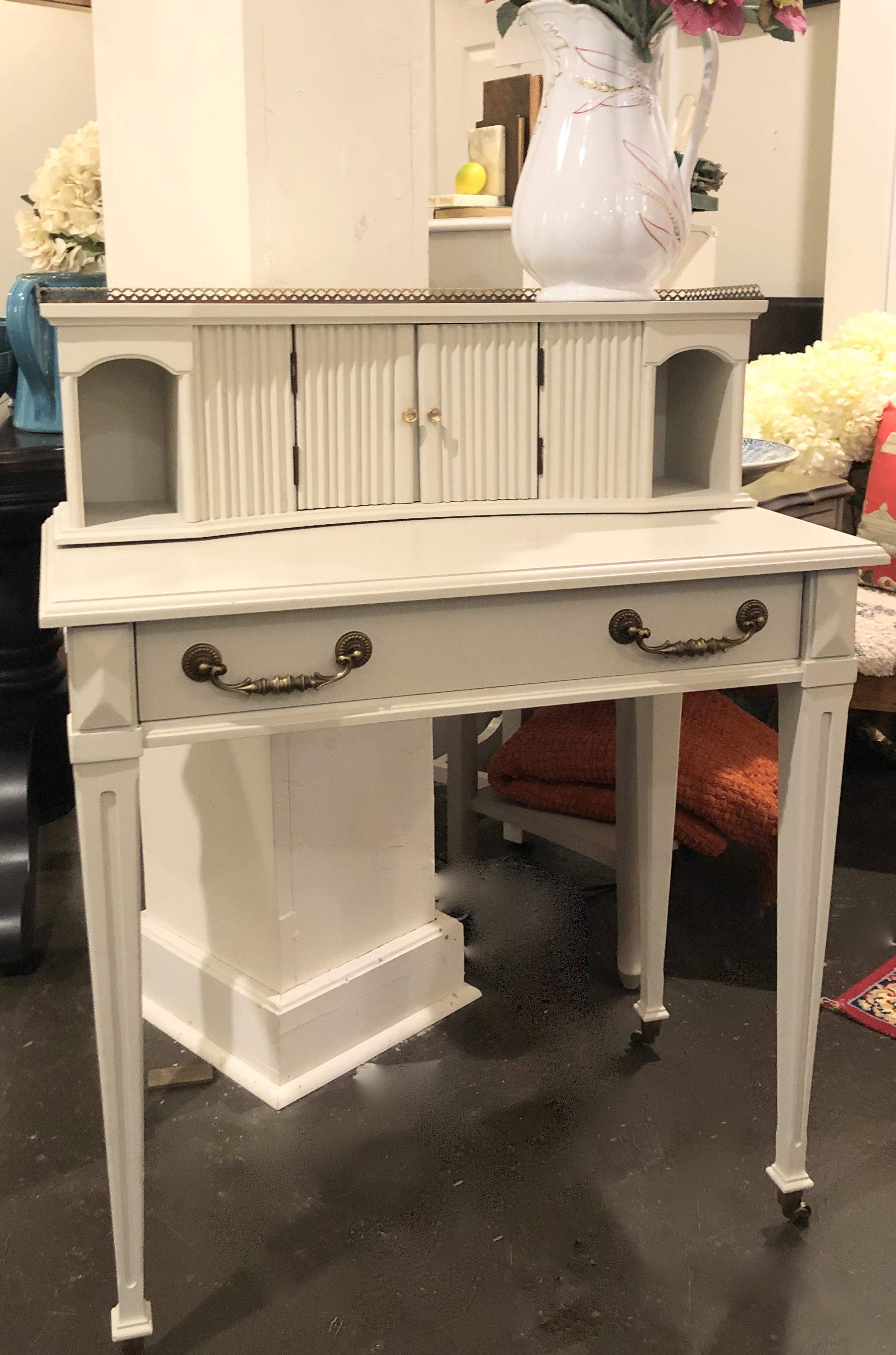 Small Painted Vintage Desk w/ Casters