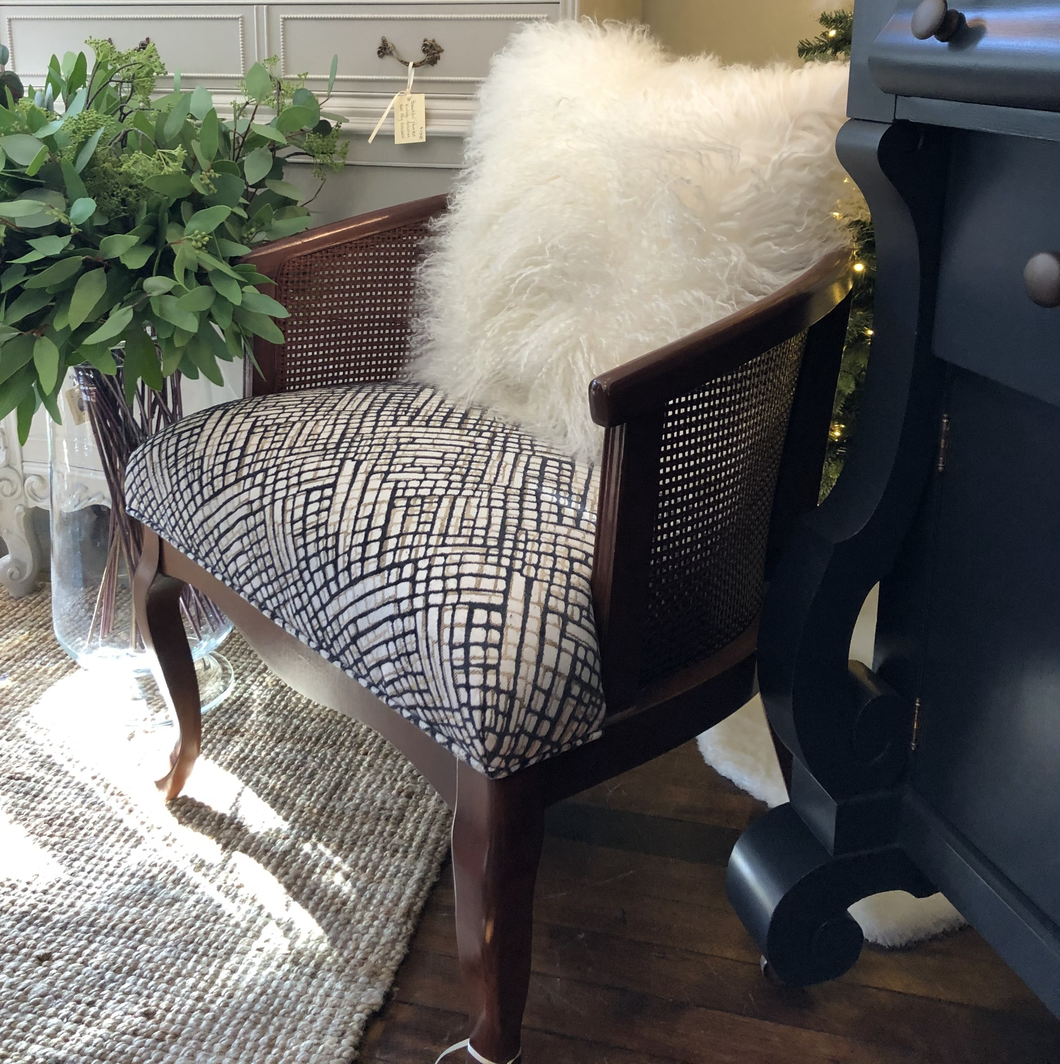 Vintage Reupholstered Cane Armchair