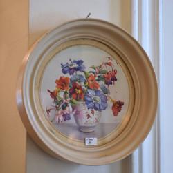 Small Round Vintage Framed Floral