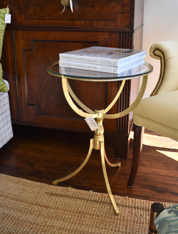 Round Glass Top Gold Pedestal Table