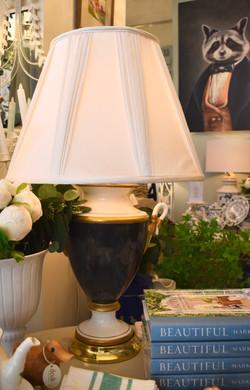 Vintage Ceramic Cobalt Blue Lamp