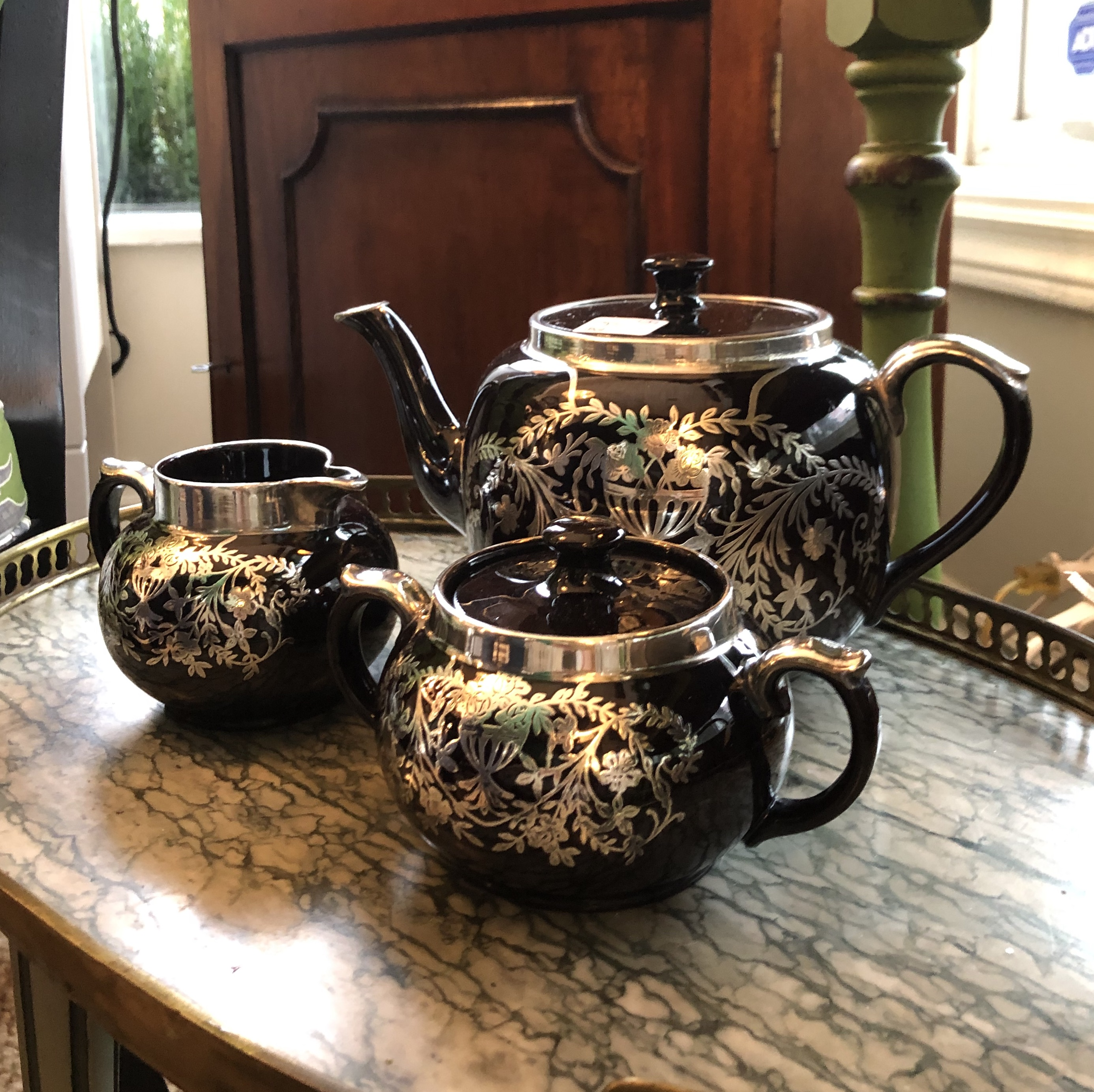 Gibson Tea Set with Silver Inlay