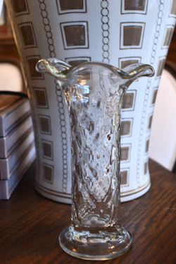 Clear Diamond Pattern Depression Glass  Bouquet
