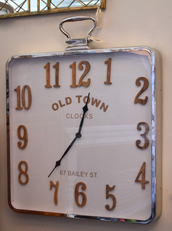 Wall Clock - Chrome with Wood