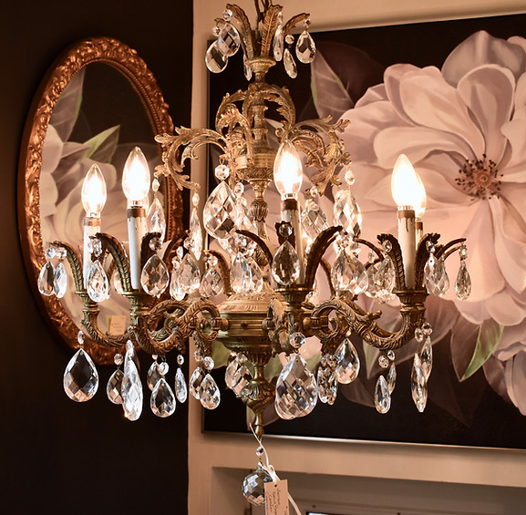 Antique Brass and Crystal Chandeliere