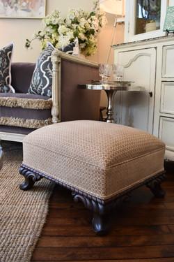 Reupholstered Vintage Footstool