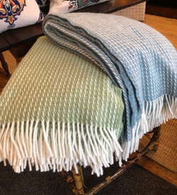 100% Wool Throw - Pale Blue and Green