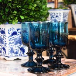 Set of 4 Footed Cobalt Blue Juice Glasses
