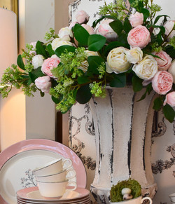 Real Touch Garden Roses Pink & White