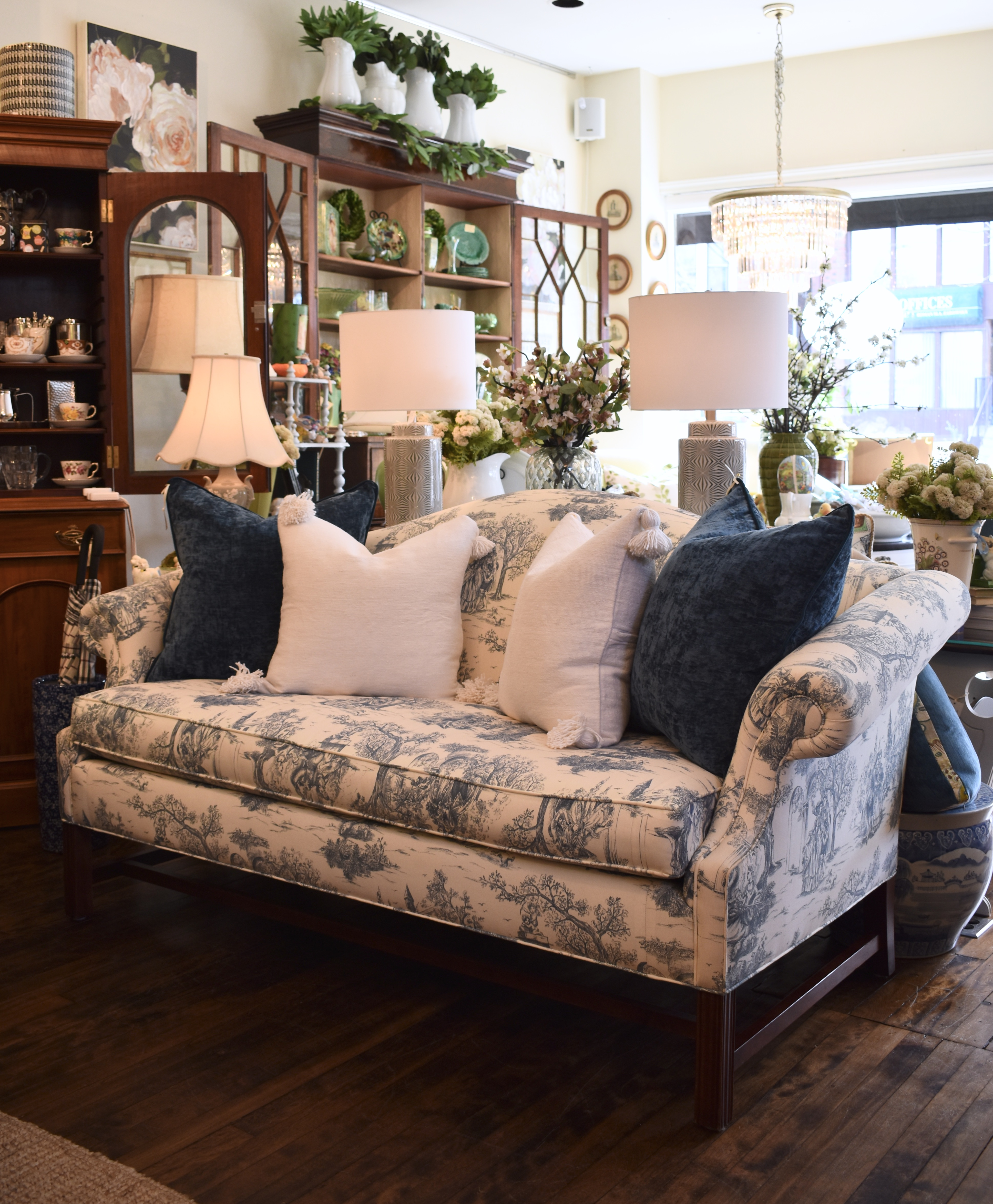Vintage Reupholstered Blue Toile Couch