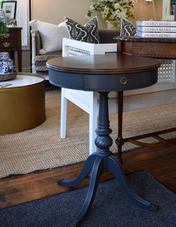 Small Round Painted Pedestal