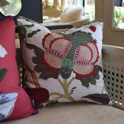 Designer Feather Accent Cushions - White with Flower