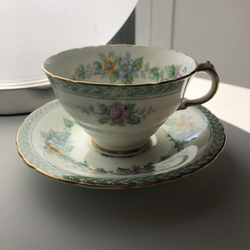 Cup and Saucer Green Floral