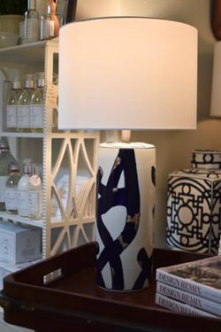 Modern Ceramic Lamp with Cobalt Swirl