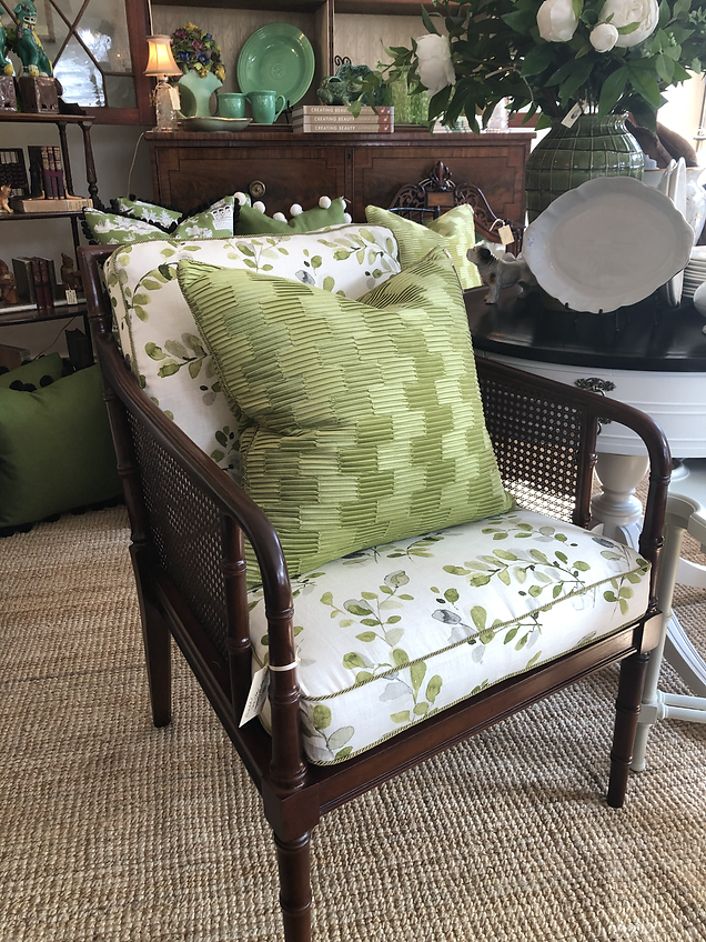 Newly Reupholstered Vintage Cane Chair
