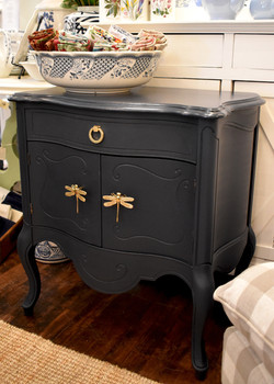 Painted Vintage End Table with Dragon Fly Handle