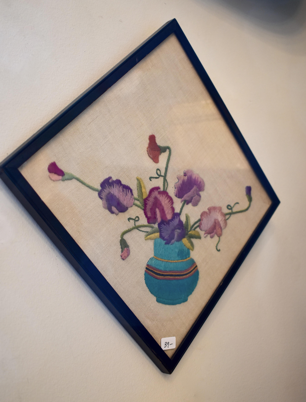 Framed Embroidered Flower Pot