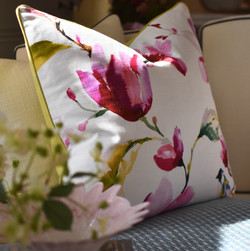 Custom Designer Cushion w Chartreuse Bac