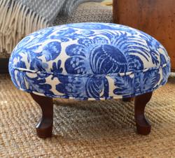 Round Vintage Upholstered Footstool