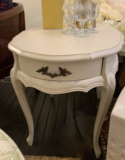 Vintage Painted Oval End Table with Draw